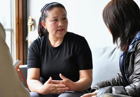 Sairagul Sauytbai, an ethnic Kazakh who fled China last year after working in a so-called re-education camp for ethnic minorities, attends an interview in Trelleborg