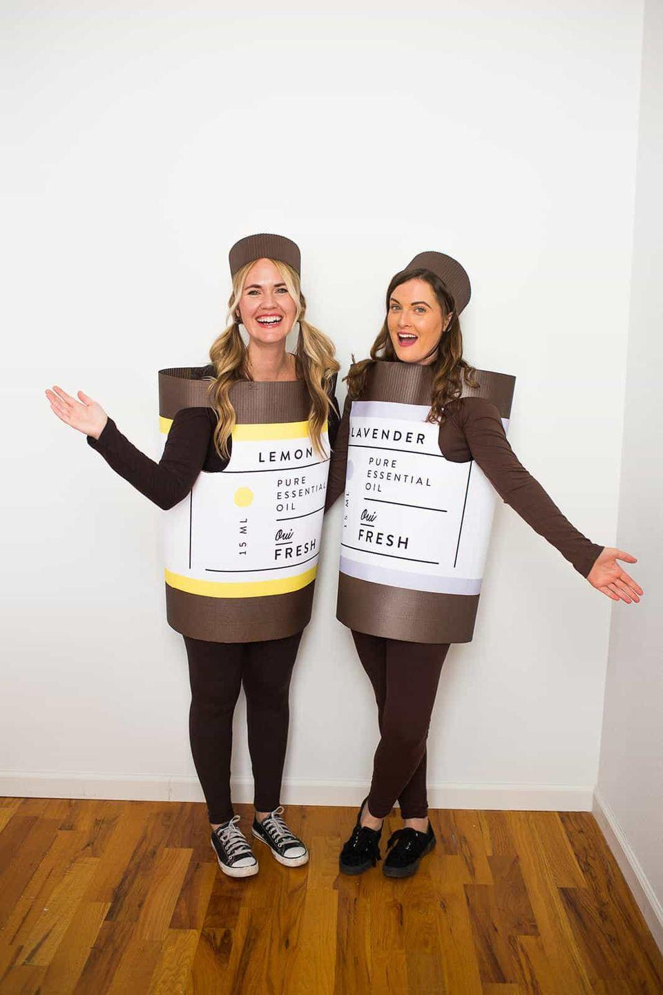 """<p>Chances are, your BFF is an <em>essential</em> person in your life. This essential oils costume is a punny take on that sentiment.</p><p><strong>Get the tutorial at <a href=""""https://abeautifulmess.com/2018/10/essential-oil-halloween-costume.html"""" rel=""""nofollow noopener"""" target=""""_blank"""" data-ylk=""""slk:A Beautiful Mess"""" class=""""link rapid-noclick-resp"""">A Beautiful Mess</a>.</strong></p><p><strong><a class=""""link rapid-noclick-resp"""" href=""""https://www.amazon.com/Aviditi-SF36-Single-Corrugated-Length/dp/B0085LJB9M/?tag=syn-yahoo-20&ascsubtag=%5Bartid%7C10050.g.21349110%5Bsrc%7Cyahoo-us"""" rel=""""nofollow noopener"""" target=""""_blank"""" data-ylk=""""slk:SHOP CARDBOARD ROLLS"""">SHOP CARDBOARD ROLLS</a><br></strong></p>"""