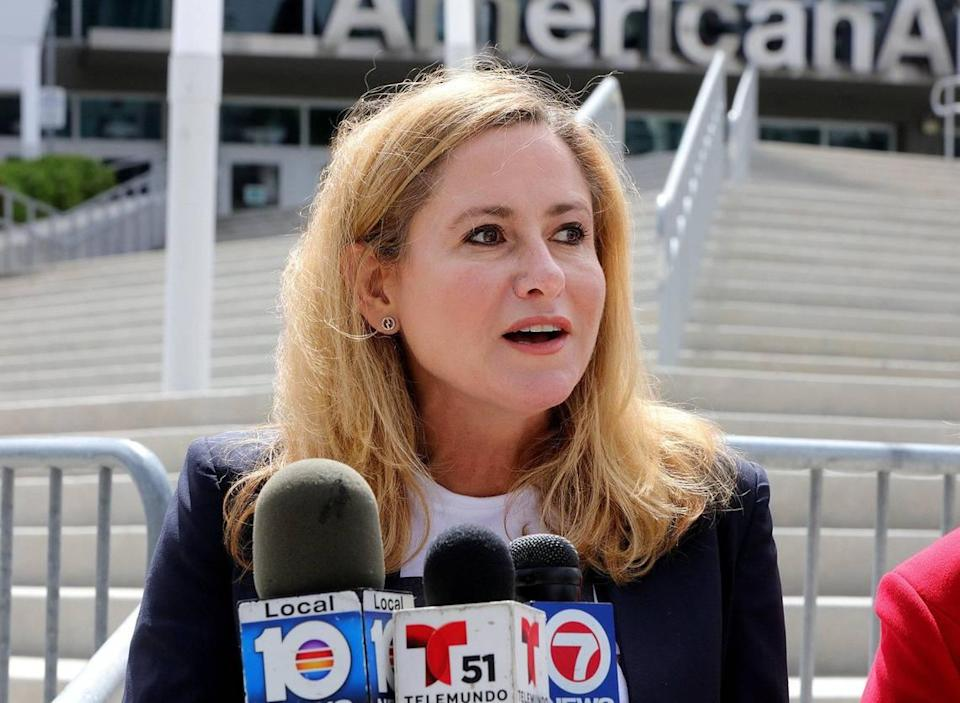 "Congresswoman Debbie Mucarsel-Powell speaks during a press conference outside of the American Airlines Arena on ""Miami-Dade County Mayor Carlos Gimenez's clear power grab over elections oversight"" on Saturday, September 5, 2020."