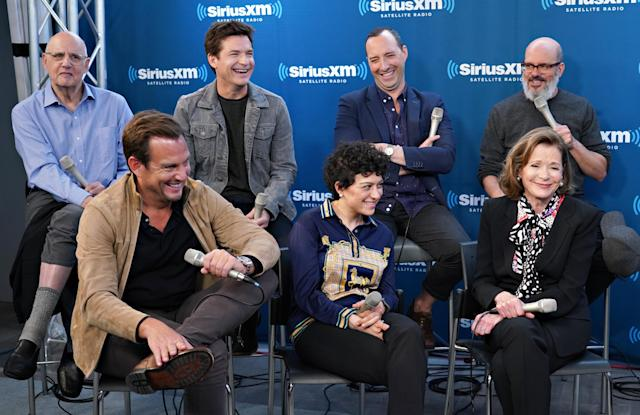 Jeffrey Tambor, Jason Bateman, Tony Hale, David Cross (top row, left to right) and Will Arnett, Alia Shawkat, and Jessica Walter, pictured on May 21, have been promoting Season 5 of <em>Arrested Development.</em> (Photo: Cindy Ord/Getty Images for SiriusXM)