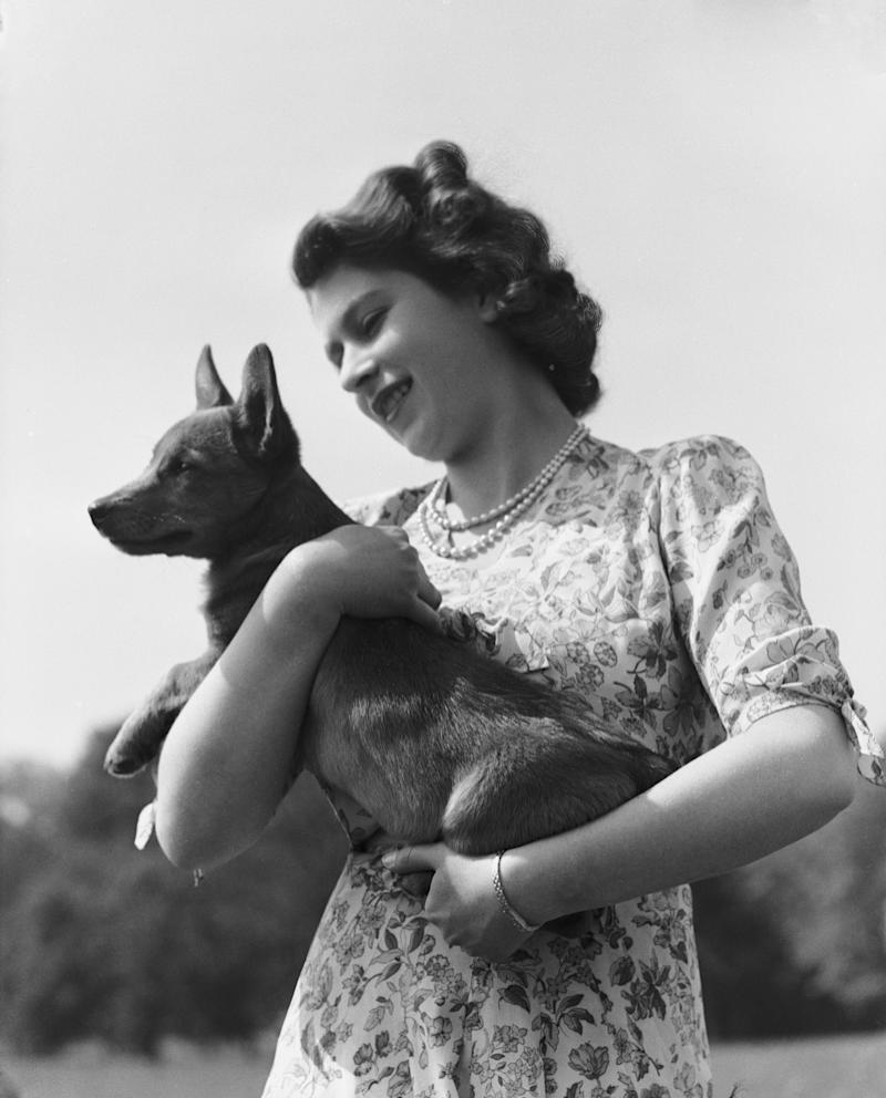 Queen Elizabeth II with her corgi Sue at Windsor Castle, 1944.