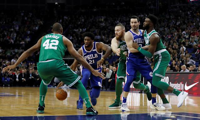 Basketball - NBA - Boston Celtics vs Philadelphia 76ers - O2 Arena, London, Britain - January 11, 2018 Philadelphia 76ers' Joel Embiid in action REUTERS/Matthew Childs