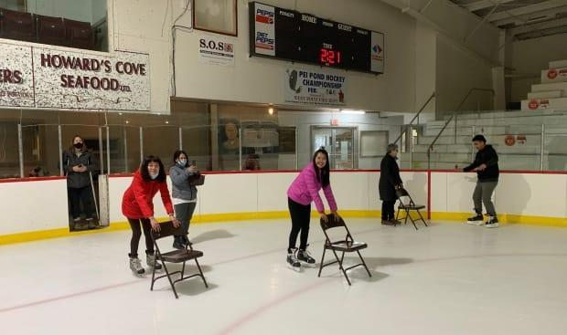 Newcomers skate at the O'Leary arena during the winter program. (Submitted by Scott Smith - image credit)