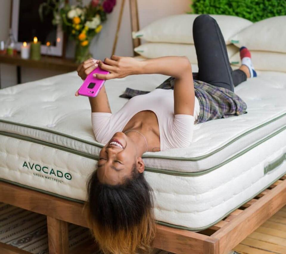 """<h2>Avocado Mattress</h2><br><strong>Dates:</strong> Now - September 8<br><strong>Sale:</strong> $200 off Green, Vegan, and Luxe Crib Mattresses<br><strong>Promo Code:</strong> LABORDAY200<br><br>Natural and extra-soft, you'll quickly find out what a <em>real</em> good night's sleep is with Avocado. <br><br><strong><a href=""""https://www.avocadogreenmattress.com/sale/?skimoffer=skimusQ1"""" rel=""""nofollow noopener"""" target=""""_blank"""" data-ylk=""""slk:Shop"""" class=""""link rapid-noclick-resp""""><em>Shop</em></a></strong> <strong><a href=""""https://www.avocadogreenmattress.com/sale/?skimoffer=skimusQ1"""" rel=""""nofollow noopener"""" target=""""_blank"""" data-ylk=""""slk:Avocado Mattress"""" class=""""link rapid-noclick-resp""""><em>Avocado Mattress</em></a></strong><br><br><strong>Avocado</strong> Avocado Green Mattress, $, available at <a href=""""https://go.skimresources.com/?id=30283X879131&url=https%3A%2F%2Fwww.avocadogreenmattress.com%2Fshop%2Favocado-mattress%2F%3F"""" rel=""""nofollow noopener"""" target=""""_blank"""" data-ylk=""""slk:Avocado"""" class=""""link rapid-noclick-resp"""">Avocado</a>"""
