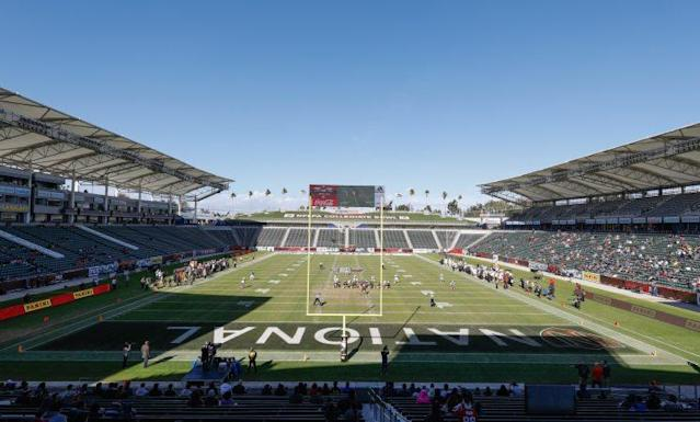 A view of the StubHub Center in Carson, Calif. as it hosted the NFLPA Collegiate Bowl in January of 2017. (AP)