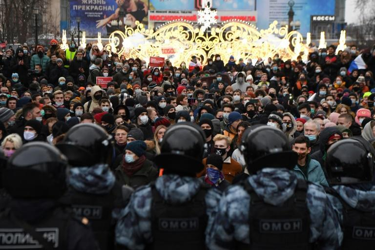 "Opposition figure Lyubov Sobol predicted that rallies in support of Alexei Navalny (similar to the one pictured January 23, 2021) will continue because ""unfortunately there is simply no other instrument for Russians to declare their rights"""