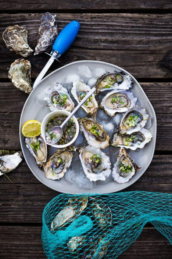 Meandering Marin County | Fresh Oysters with Mustard Seed, Cucumber, Dill…: