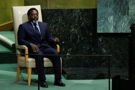 Kabange, President of the Democratic Republic of the Congo sits in the chair reserved for heads of state before addressing the 72nd United Nations General Assembly at U.N. headquarters in New York