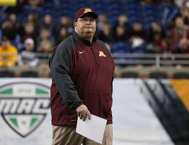 """<a class=""""link rapid-noclick-resp"""" href=""""/ncaab/teams/mbd/"""" data-ylk=""""slk:Minnesota Golden Gophers"""">Minnesota Golden Gophers</a> head football coach Tracy Claeys has been fired despite notching best Gophers season in 13 years. (Photo by Leon Halip/Getty Images)"""