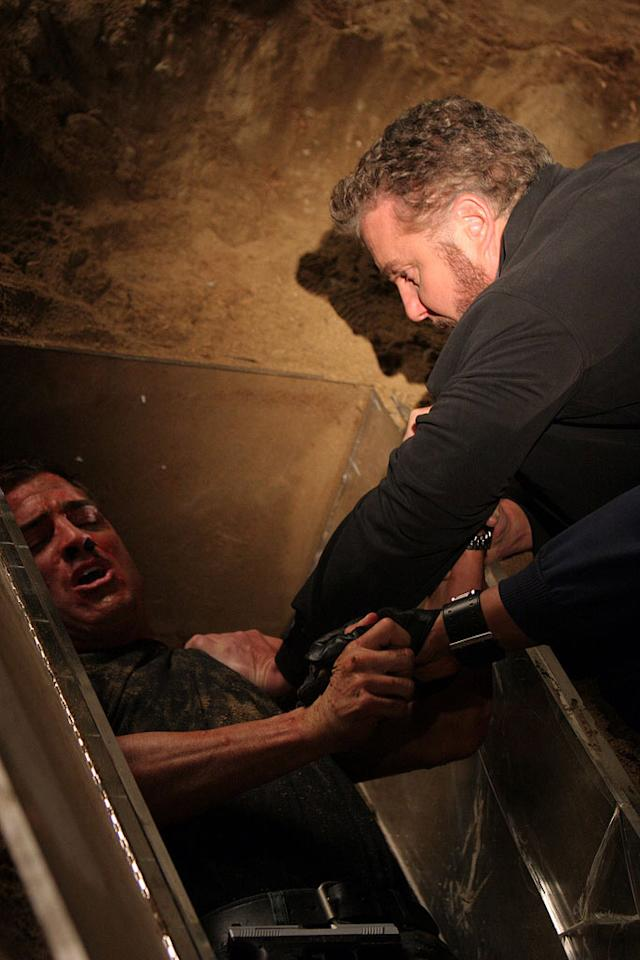 """Grissom struggles to save Nick, who was kidnapped and buried alive in a glass coffin. (""""Grave Danger""""  5/19/2005, Season 5 Finale directed by Quentin Tarantino)"""