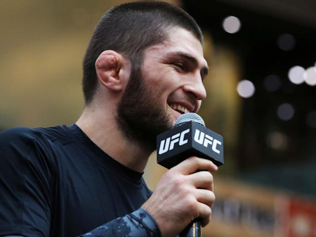 Khabib Nurmagomedov speaks to the crowd: AP