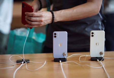 Apple's new iPhone 11 phones are displayed at the Apple Store in IFC, Central district, Hong Kong, China