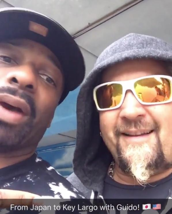 """<p>The DJ jetted out to the Florida Keys all the way from Kobe, Japan for a special guest appearance on """"Diners, Drive-Ins and Dives"""" with host Guy Fieri, a.k.a. <a href=""""https://www.instagram.com/p/-5Zy_siCNl/"""">G-MONEY</a>.</p><p><i>Photo: Instagram/<a href=""""https://www.instagram.com/p/-5Zy_siCNl/"""">irie</a></i></p>"""