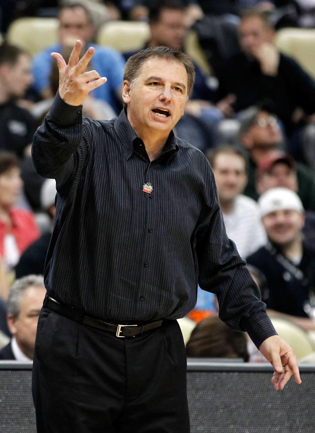 PITTSBURGH, PA - MARCH 15: Head coach Larry Eustachy of the Southern Miss Golden Eagles reacts against the Kansas State Wildcats during the second round of the 2012 NCAA Men's Basketball Tournament at Consol Energy Center on March 15, 2012 in Pittsburgh, Pennsylvania. (Photo by Gregory Shamus/Getty Images)