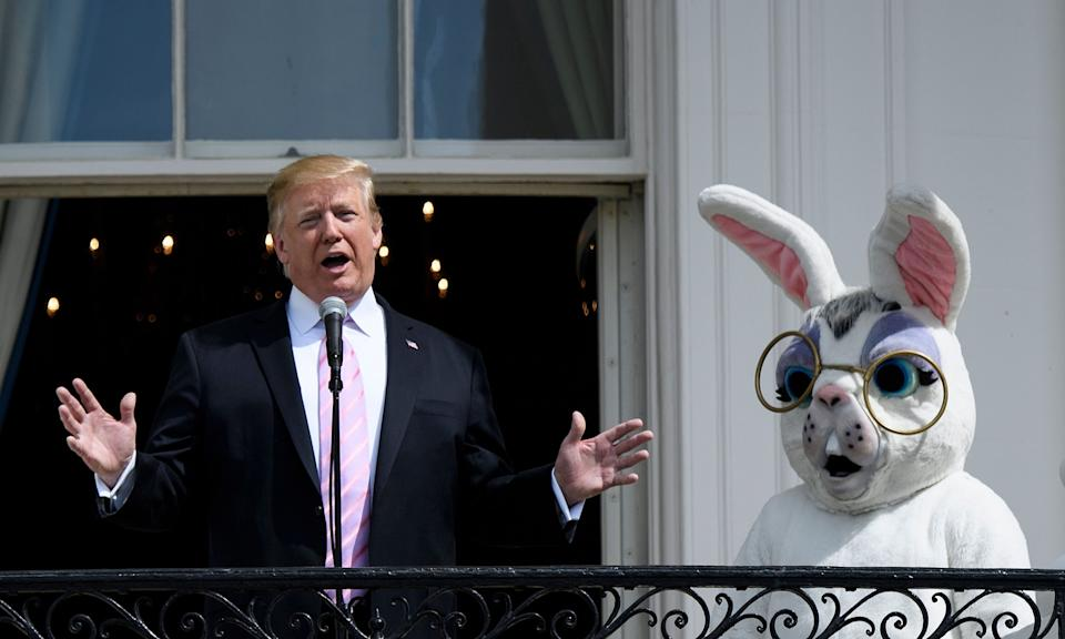 Former president Donald Trump and the Easter Bunny on April 22, 2019, in Washington, D.C. (Photo: Brendan Smialowski/AFP via Getty Images)