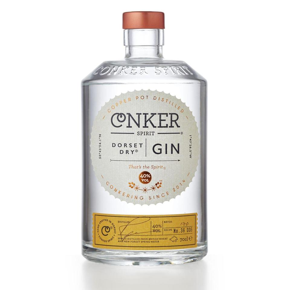 """<p>This deliciously smooth small batch gin is distilled from British wheat spirit and new forest spring water. It's meant to taste gorgeous simply sipped over ice. </p><p><strong>£34.95, <strong>Conker</strong></strong></p><p><a class=""""link rapid-noclick-resp"""" href=""""https://www.amazon.co.uk/Conker-Spirit-Dorset-Dry-Gin/dp/B00XN5R2DM/ref=sr_1_2?dchild=1&keywords=conker+gin&qid=1591178228&sr=8-2&tag=hearstuk-yahoo-21&ascsubtag=%5Bartid%7C2159.g.29069585%5Bsrc%7Cyahoo-uk"""" rel=""""nofollow noopener"""" target=""""_blank"""" data-ylk=""""slk:BUY NOW"""">BUY NOW</a></p>"""