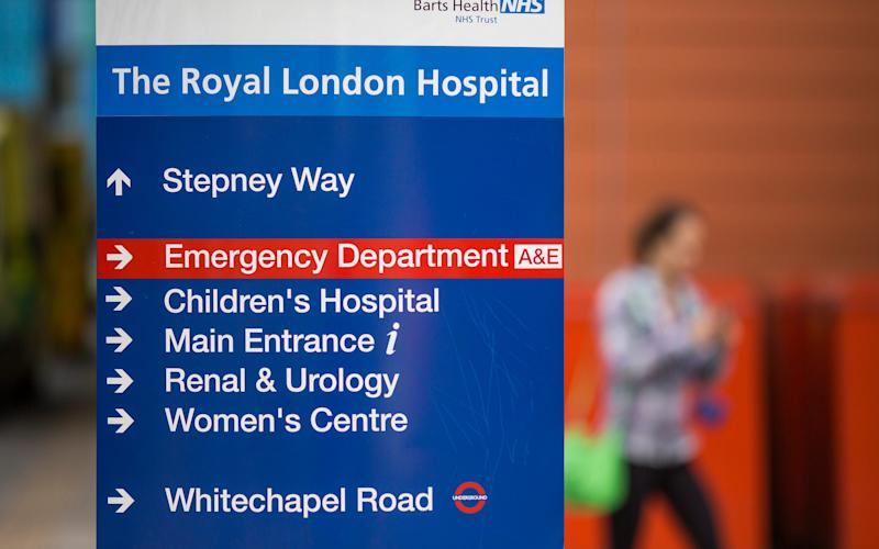 Royal London Hospital sign - Credit: Warren Allott/Telegraph