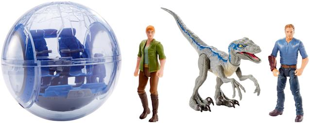 <p>Hop in the Gyrosphere as Chris Pratt, Bryce Dallas Howard, or Blue the Velociraptor (figures sold separately) and take a whirl around Jurassic World … or what's left of it anyway. (Photo: Mattel) </p>