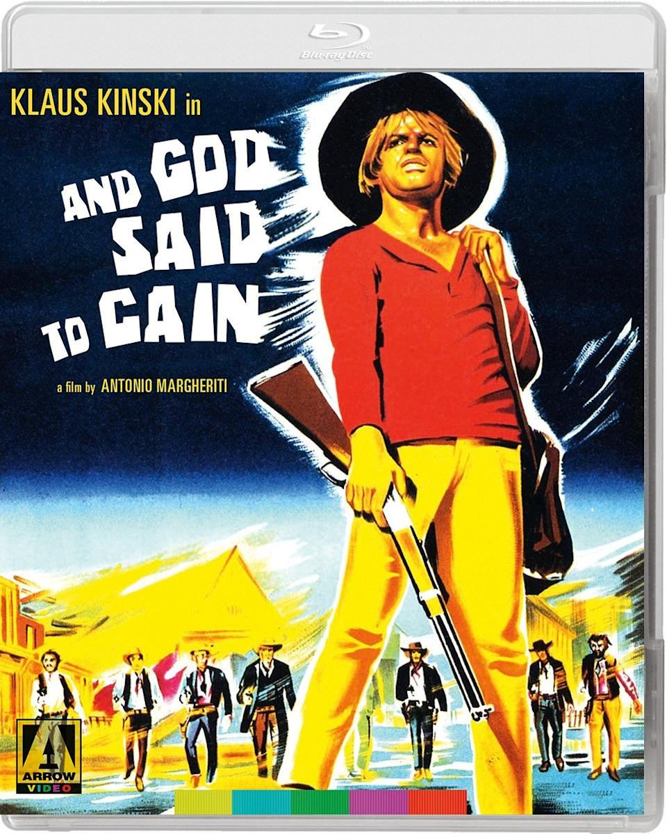The Blu-ray cover for And God Said to Cain in the Vengeance Trails box set.