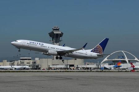United Airlines plane takes off from Los Angeles International airport