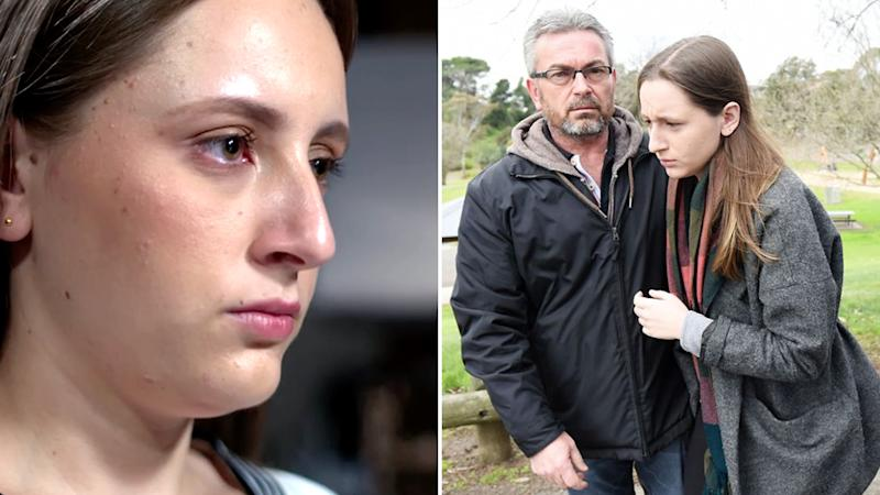 Sarah Ristevski is speaking out for the first time in a 60 Minutes interview (left) about her father, Borce (pictured right with her).