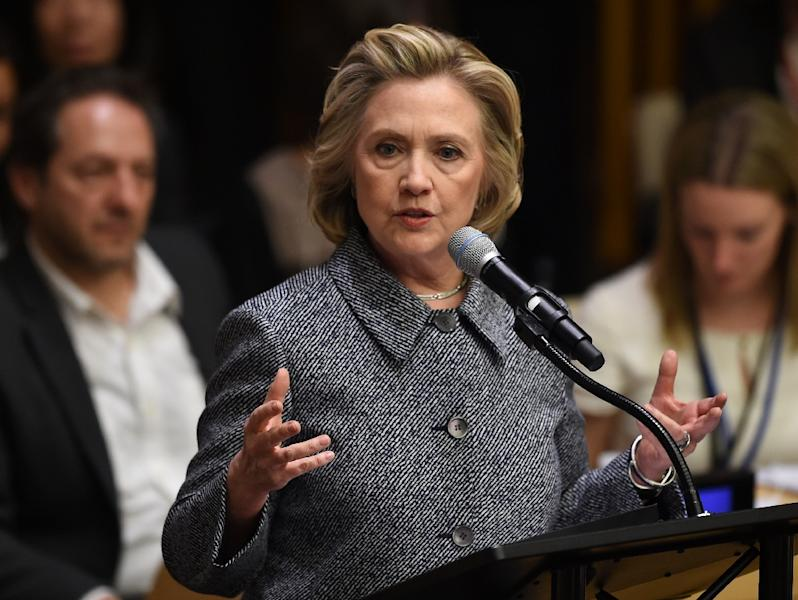 "Hillary Clinton speaks at the Annual Women's Empowerment Principles, entitled ""Unlimited Potential: Business Partners for Gender Equality"" March 10, 2015 at the United Nations in New York (AFP Photo/Don Emmert)"