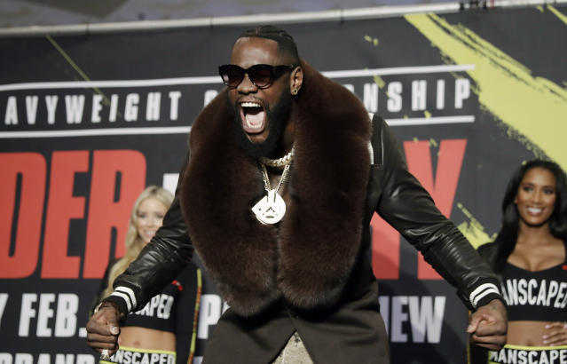 Deontay Wilder arrives at the MGM Grand ahead of his WBC heavyweight championship boxing match against Tyson Fury, Tuesday, Feb. 18, 2020, in Las Vegas. (AP Photo/Isaac Brekken)