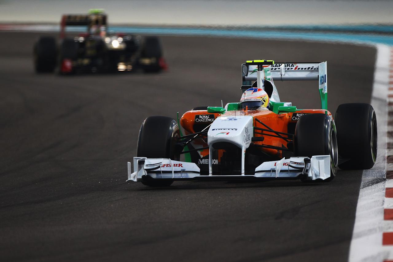 ABU DHABI, UNITED ARAB EMIRATES - NOVEMBER 13:  Paul di Resta of Great Britain and Force India drives during the Abu Dhabi Formula One Grand Prix at the Yas Marina Circuit on November 13, 2011 in Abu Dhabi, United Arab Emirates.  (Photo by Clive Mason/Getty Images)