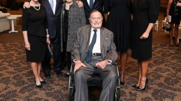 PHOTO: Former Presidents George W. Bush, Bill Clinton and Barack Obama, along with first ladies Laura Bush, Hillary Clinton, Michelle Obama and Melania Trump, pose for a photo with George H.W. Bush at the funeral of Barbara Bush on April 22, 2018. (Paul Morse Photo -- Office of George H.W. Bush)