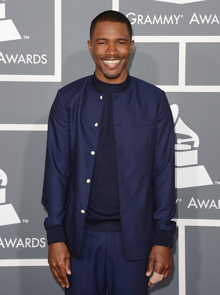 Frank Ocean arrives at the 55th Annual Grammy Awards at the Staples Center in Los Angeles, CA on February 10, 2013.