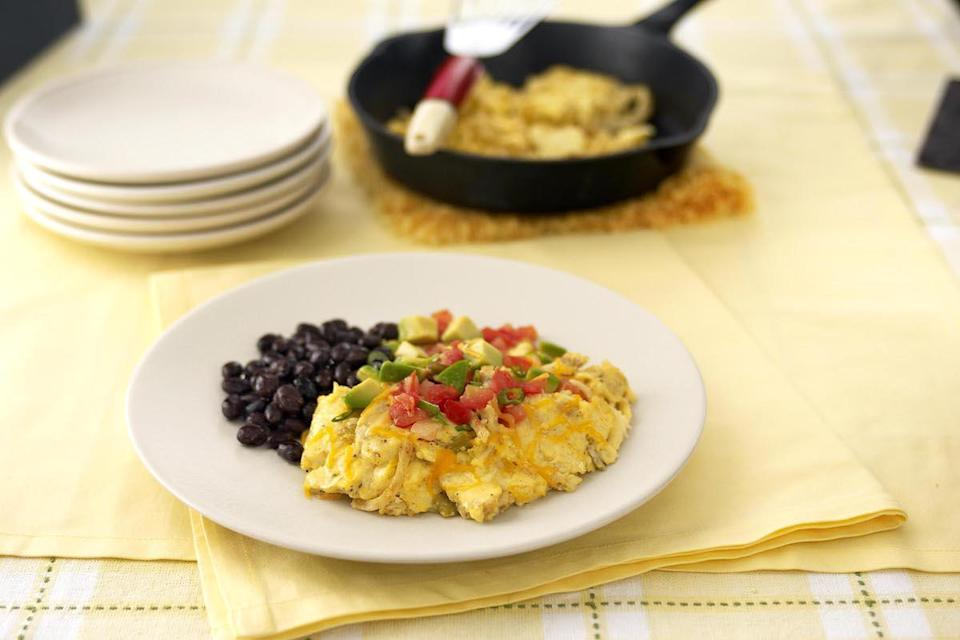 "<p>This Southwestern spin on scramble eggs features corn tortilla strips, green chiles and cheese. Top it off with a <a href=""https://www.thedailymeal.com/easy-summer-salsa-and-dip-gallery?referrer=yahoo&category=beauty_food&include_utm=1&utm_medium=referral&utm_source=yahoo&utm_campaign=feed"" rel=""nofollow noopener"" target=""_blank"" data-ylk=""slk:summer salsa"" class=""link rapid-noclick-resp"">summer salsa</a> and call it a successful morning. </p> <p><a href=""https://www.thedailymeal.com/recipes/southwestern-scramble?referrer=yahoo&category=beauty_food&include_utm=1&utm_medium=referral&utm_source=yahoo&utm_campaign=feed"" rel=""nofollow noopener"" target=""_blank"" data-ylk=""slk:For the Southwest Scramble recipe, click here."" class=""link rapid-noclick-resp"">For the Southwest Scramble recipe, click here.</a></p>"