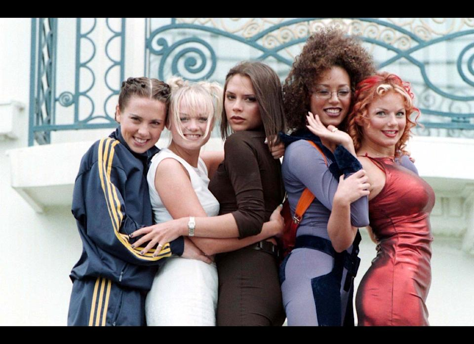 <strong>1997</strong>  The Spice Girls pose outside the Martinez Hotel in Cannes, during the 50th Cannes Film Festival