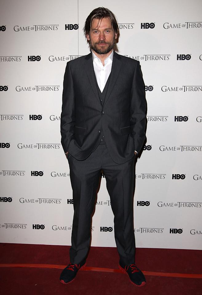 "Nikolaj Coster-Waldau attends the ""<span style=""text-decoration:underline;""></span><a target=""_blank"" href=""http://tv.yahoo.com/game-of-thrones/show/41208"">Game of Thrones</a>"" Season 1 DVD premiere at Old Vic Tunnels on February 29, 2012 in London, England."
