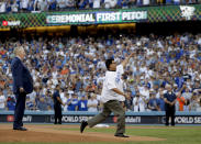 <p>Vin Scully and Fernando Valenzuela throw out the ceremonial first pitch before Game 2 of baseball's World Series between the Houston Astros and the Los Angeles Dodgers Wednesday, Oct. 25, 2017, in Los Angeles. (AP Photo/Matt Slocum) </p>