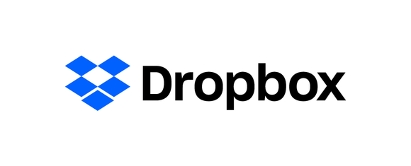 Dropbox company logo, with a representation of an open box next to the company's name.