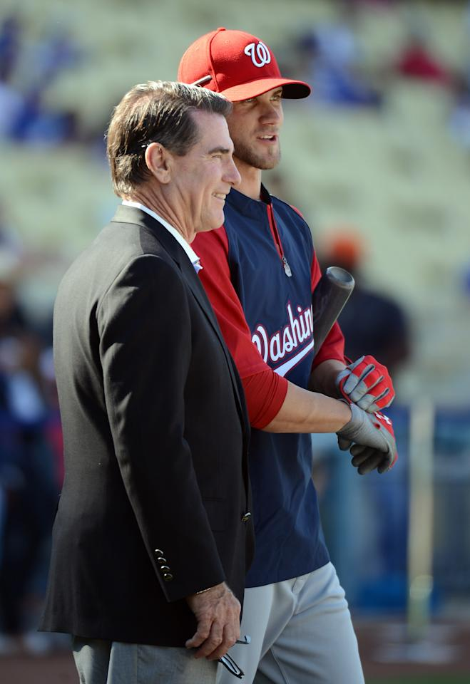 LOS ANGELES, CA - APRIL 28:  Bryce Harper #34 of the Washington Nationals stands with former Los Angeles Dodgers Steve Garvey as he makes his major league debut during practice before the game against the Los Angeles Dodgers at Dodger Stadium on April 28, 2012 in Los Angeles, California.  (Photo by Harry How/Getty Images)