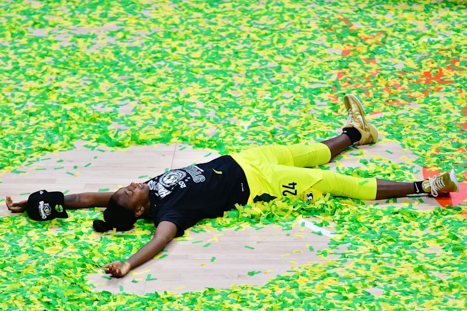 Jewell Loyd of the Seattle Storm after winning the WNBA Finals