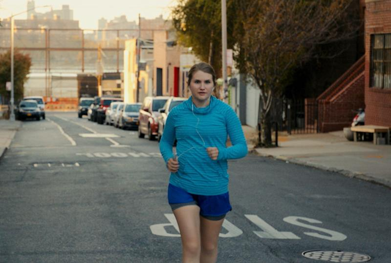 Jillian Bell in character as Brittany on the set of Brittany Runs a Marathon.
