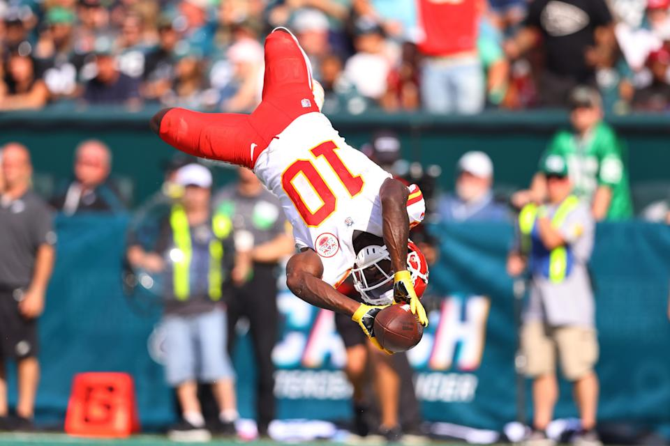 Tyreek Hill #10 of the Kansas City Chiefs celebrates after scoring a touchdown during the fourth quarter against the Philadelphia Eagles at Lincoln Financial Field on October 03, 2021 in Philadelphia, Pennsylvania.