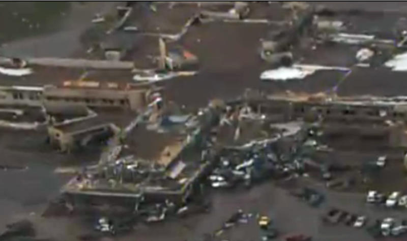 CORRECTS TORNADO MEASUREMENT TO NUMBER REPORTED BY THE NATIONAL WEATHER SERVICE - This frame grab courtesy KFOR TV shows the aftermath of a massive tornado as much as half a mile wide with winds up to 200 mph roared through the Oklahoma City suburbs Monday, May 20, 2013. (AP Photo/Courtesy KFOR TV)