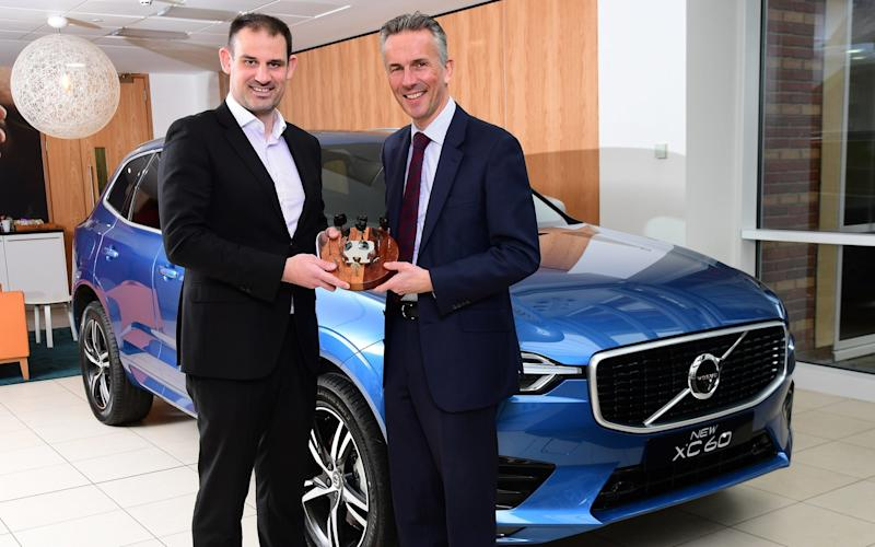 Victorious Volvo: Jon Wakefield, managing director at Volvo Car UK (right), with John Challen, director of UK Car of the Year Awards