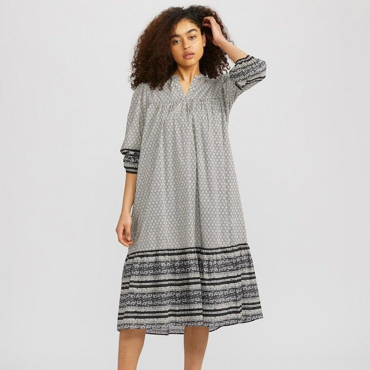 "Free shipping on all <a href=""https://www.uniqlo.com/us/en/women"" rel=""nofollow noopener"" target=""_blank"" data-ylk=""slk:Uniqlo"" class=""link rapid-noclick-resp"">Uniqlo</a> orders through Sunday. <br> <br> <strong>Anna Sui</strong> Cotton 3/4 Sleeve Dress, $, available at <a href=""https://go.skimresources.com/?id=30283X879131&url=https%3A%2F%2Fwww.uniqlo.com%2Fus%2Fen%2Fwomen-anna-sui-cotton-3%252F4-sleeve-dress-425541.html"" rel=""nofollow noopener"" target=""_blank"" data-ylk=""slk:Uniqlo"" class=""link rapid-noclick-resp"">Uniqlo</a>"