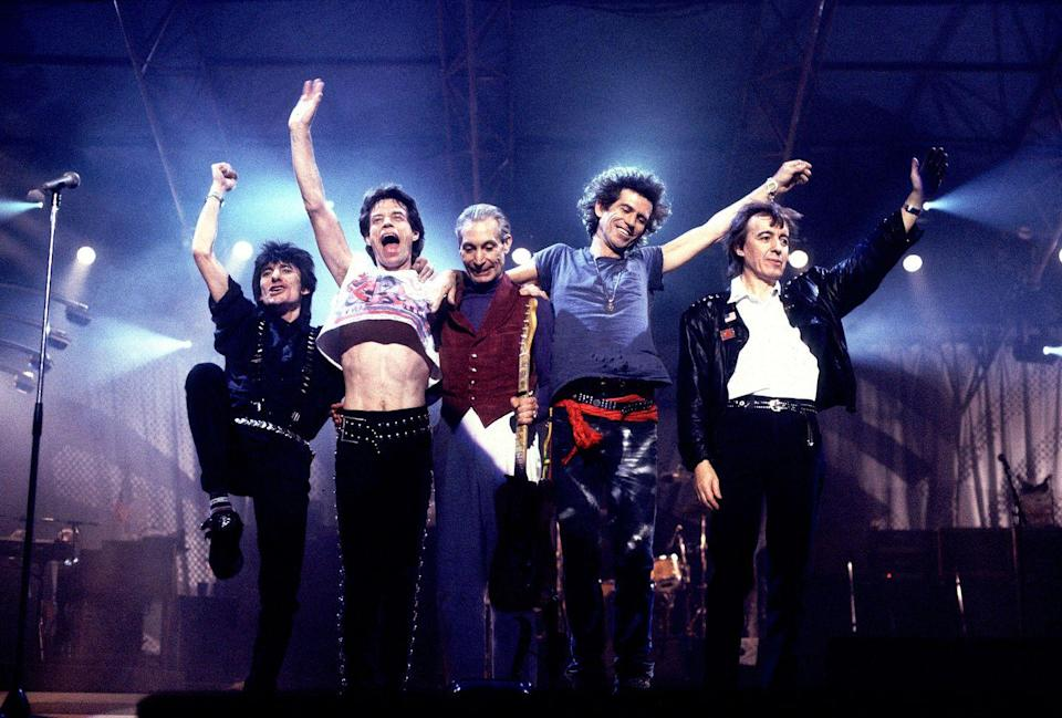 <p>Left to right: Ron Wood, Mick Jagger, Charlie Watts, Keith Richards and Bill Wyman of the Rolling Stones wave to the crowd at the Historic Atlantic City Convention Hall (now Boardwalk Hall) in Atlantic City, N.J., during the Steel Wheels Tour, December 1989. The group played three nights at the venue from 17th - 20th December 1989.</p>