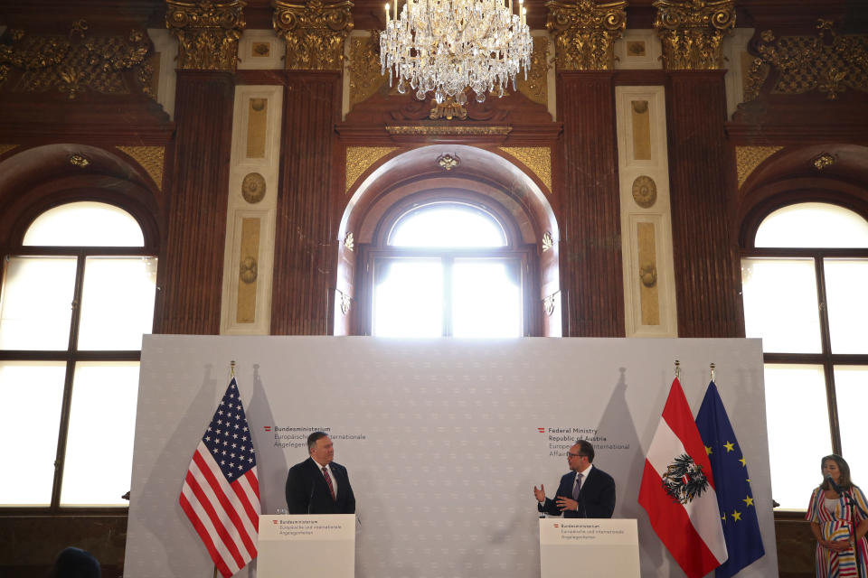 U.S. Secretary of State Mike Pompeo, left, holds a joint news conference with Austrian Foreign Minister Alexander Schallenberg in Vienna Austria, Friday Aug. 14, 2020. Pompeo is on a five-day visit to central Europe. (Lisi Niesner/Pool via AP)