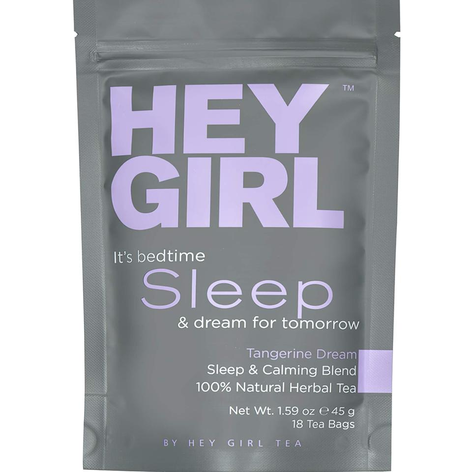 """<strong><h3>Hey Girl Sleep & Calming Tea Blend</h3></strong><br>This cheeky tea was specially formulated for troubled sleepers suffering from insomnia, anxiety, or stress — the Tangerine Dream blend promotes pre-bedtime relaxation and calm.<br><br><em>Shop </em><strong><em><a href=""""https://amzn.to/2U7nvcD"""" rel=""""nofollow noopener"""" target=""""_blank"""" data-ylk=""""slk:Hey Girl"""" class=""""link rapid-noclick-resp"""">Hey Girl</a></em></strong><br><br><strong>Hey Girl Tea</strong> Sleep Tea, $, available at <a href=""""https://amzn.to/2U7nvcD"""" rel=""""nofollow noopener"""" target=""""_blank"""" data-ylk=""""slk:Amazon"""" class=""""link rapid-noclick-resp"""">Amazon</a>"""