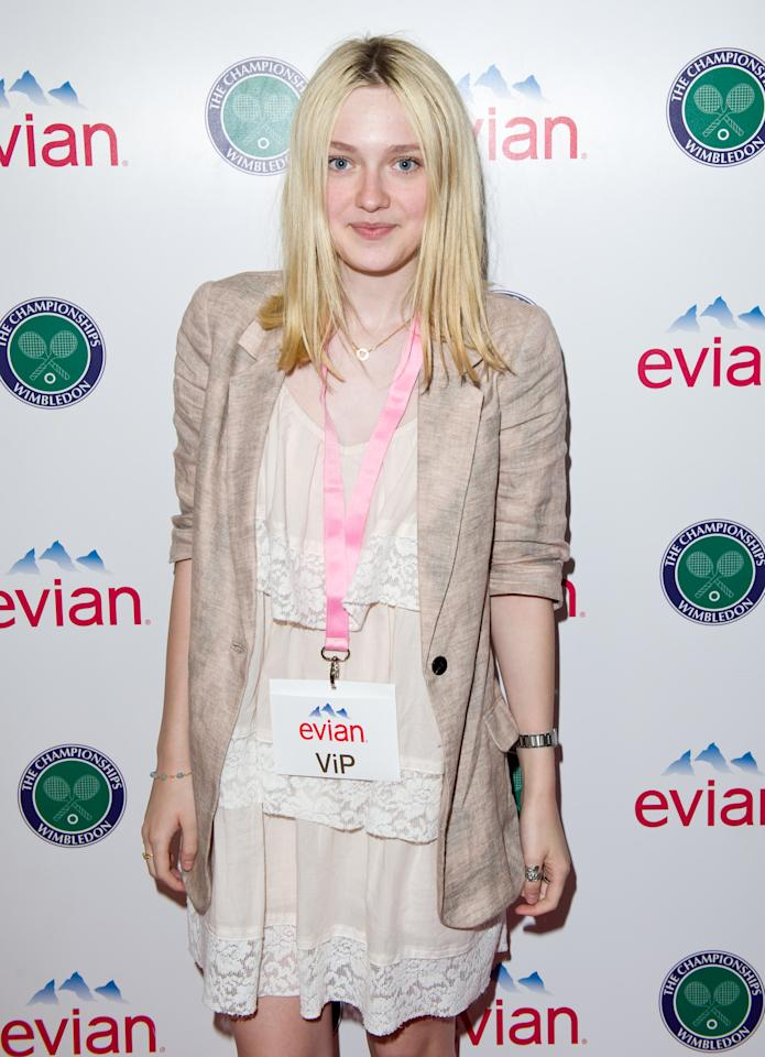 LONDON, ENGLAND - JUNE 20: Dakota Fanning attends the Evian VIP Suite at Wimbledon on June 20, 2011 in London, England.  (Photo by Ian Gavan/Getty Images for Evian)