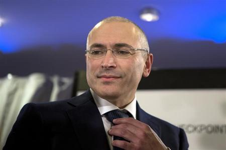 Freed Russian former oil tycoon Khodorkovsky attends a news conference in Museum Haus am Checkpoint Charlie in Berlin