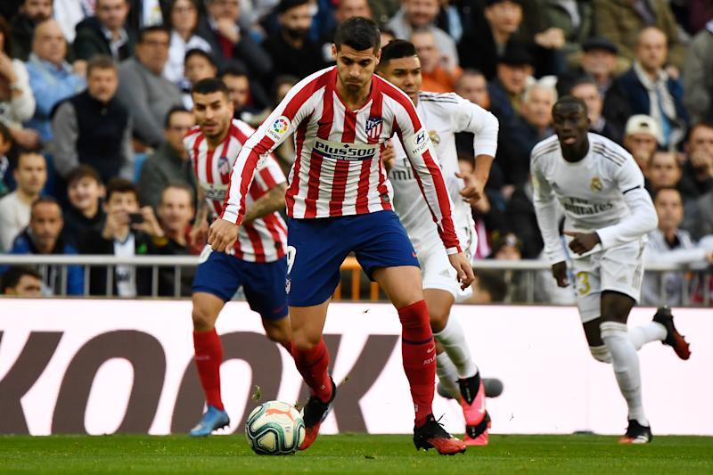 Atletico Madrid's Spanish forward Alvaro Morata controls the ball during the Spanish league football match between Real Madrid CF and Club Atletico de Madrid at the Santiago Bernabeu stadium in Madrid on February 1, 2020. (Photo by PIERRE-PHILIPPE MARCOU / AFP) (Photo by PIERRE-PHILIPPE MARCOU/AFP via Getty Images)
