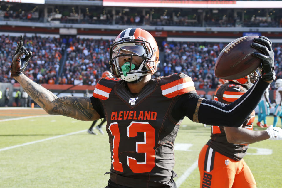 Odell Beckham Jr. celebrates after a 35-yard touchdown against Miami last month. Beckham has two receiving TDs this season with the Browns. (AP Photo/Ron Schwane)
