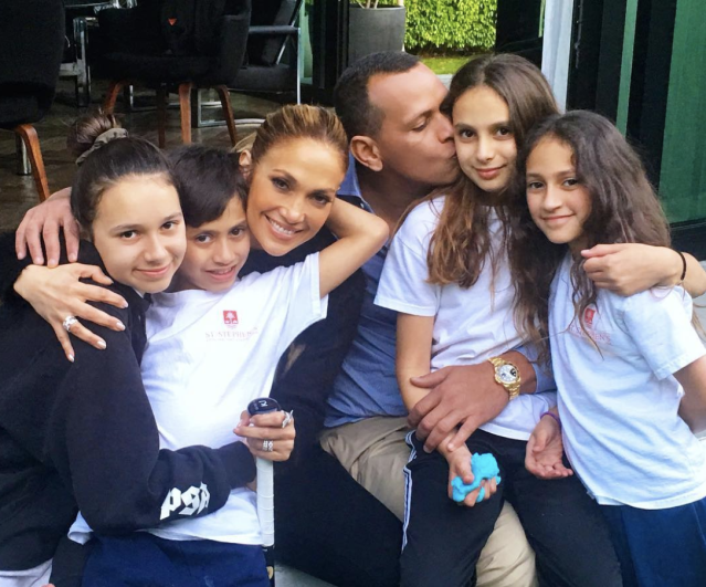"<p>All in the family! The former Yankee and his love, Jennifer Lopez, cuddled their cutie kids in this group shot. ""Perfect day in #Miami with #OurGreatestGifts,"" the basballer wrote. Adding, ""#Family #Blessed"" (Photo: <a href=""https://www.instagram.com/p/BgWcg9YA0vT/?taken-by=arod"" rel=""nofollow noopener"" target=""_blank"" data-ylk=""slk:Alex Rodriguez via Instagram"" class=""link rapid-noclick-resp"">Alex Rodriguez via Instagram</a>) </p>"